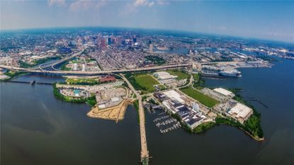 An aerial view of Port Covington, where Under Armour CEO Kevin Plank's real estate firm Sagamore Development plans to build an new Under Armour campus and other mixed-use development.