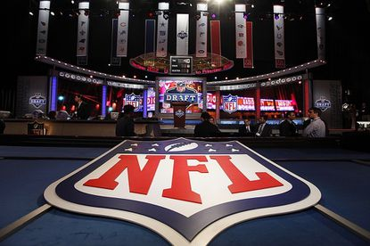 The stage is shown before the first round of the 2012 NFL Draft at Radio City Music Hall April 26, 2012 in New York.