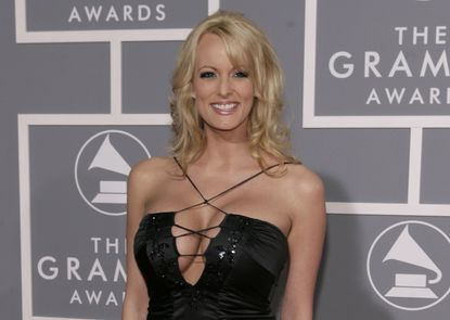 Stormy Daniels arrives for the Grammy Awards on Feb. 11, 2007, in Los Angeles. President Donald Trump's personal attorney says he paid $130,000 out of his own pocket to a porn actress who allegedly had a sexual relationship with Trump in 2006.