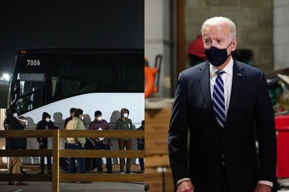 Photo on left: Migrant children and teenagers from the southern border of the United States are processed after entering the site of a temporary holding facility south of Midland, Texas. (Odessa American/Eli Hartman)/Odessa American via AP) Photo on right: President Joe Biden visits Smith Flooring Inc., in Chester, Pa. (AP Photo/Carolyn Kaster)