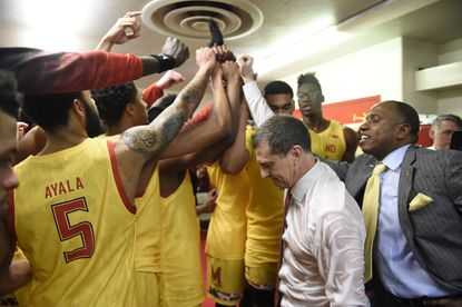 Maryland men's basketball coach Mark Turgeon leads his team in a postgame huddle after the Terps rallied to beat Indiana, 77-76, on Sunday, Jan. 26, 2020.