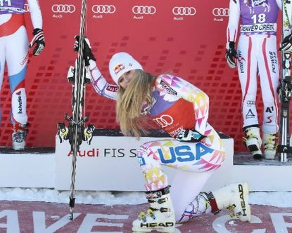 "After winning the Super G last week, Lindsey Vonn did her version of the ""Tebow."""