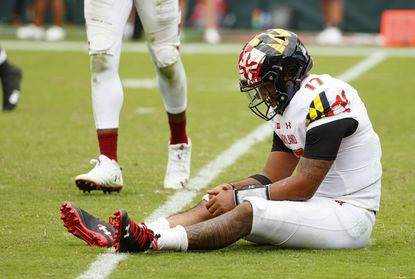 Maryland quarterback Josh Jackson (17) sits on the field after an incompletion on third down during the second half against Temple, Saturday, Sept. 14, 2019, in Philadelphia. Temple won 20-17.
