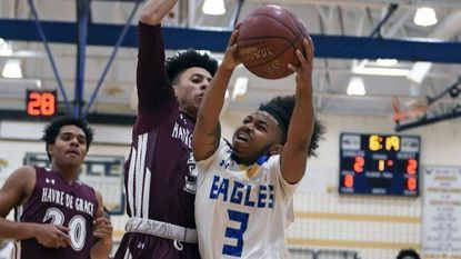 Aberdeen's Jaquane Hayes, shown in earlier season action, scored 19 points to lead the Eagles' win over Harford Tech.