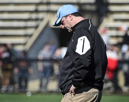 Johns Hopkins men's lacrosse coach Dave Pietramala is pictured after North Carolina defeated Johns Hopkin15-11 at Homewood Field.