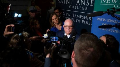 Maryland Governor Larry Hogan visits The New Hampshire Institute of Politics on the campus of Saint Anselm University in Machester, N.H., in April. Hogan is keeping the door open to a presidential run in 2024.