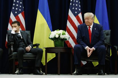In this Sept. 25, 2019, file photo, President Donald Trump meets with Ukrainian President Volodymyr Zelensky at the InterContinental Barclay New York hotel during the United Nations General Assembly in New York. Ukraine may be at the center of a major geopolitical battle, but it's feeling increasingly alone and abandoned by its U.S. backers amid the impeachment drama unfolding in Washington.