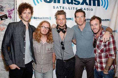 The members of OneRepublic pose at the SiriusXM Studio in New York City.