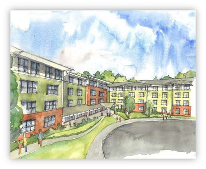 An artist's rendering of Red Run Overlook, a mixed-income apartment complex that developers broke ground on Thursday in Owings Mills.