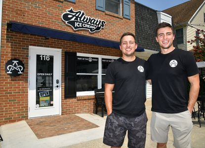 Brother Adam Cohen, left, and Mark Cohen, right, in front of their new location Tuesday July 28, 2021. Always Ice Cream Company, at 116 Annapolis Street in West Annapolis, is co-owned by Adam and Mark Cohen, and recently had their grand opening.