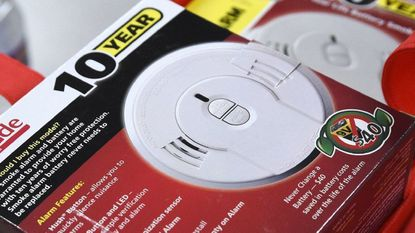 Photo of a 10-year, built-in battery operated smoke detector. Effective Jan. 1, those devices should be in Maryland homes in accordance with state law.