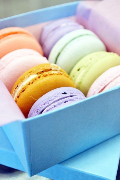 Tiny, colorful macarons fill a gift box from Sweethearts Patisserie in Annapolis.