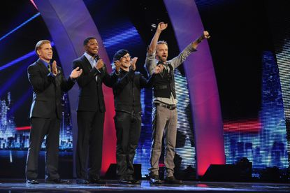 "Tom Cotter, Nick Cannon, Joe Castillo and William Close on ""America's Got Talent."""