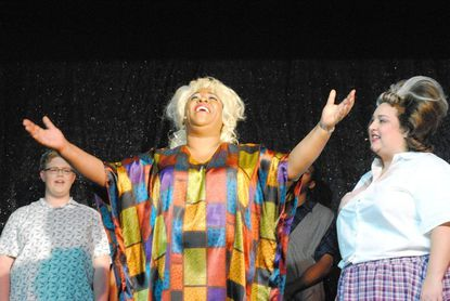 Motormouth Maybelle (played by Melissa Broy Fortson) and Tracy Turnblad (Stacey Bonds) share a common goal: to integrate the Corny Collins Show.