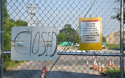 An entrance to the Baltimore City Department of Public Works Recycling Center has closed due to COVID-19. June 9, 2020