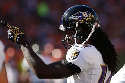 Ravens wide receiver Marlon Brown points during a game against the Bengals on Oct. 26.