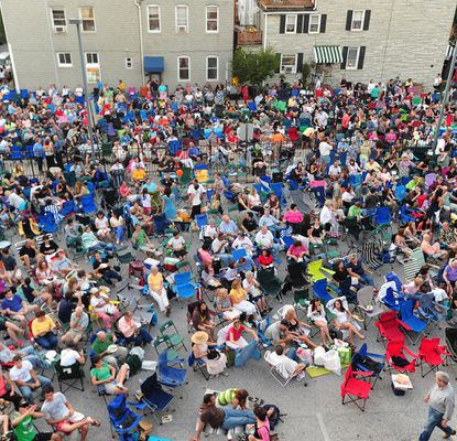 The crowd at the Little Italy Open Air Film Festival