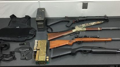 Aberdeen Police seized several weapons and more than 150 rounds of ammunition as well as a holster and bulletproof vest from a home in Aberdeen Thursday.