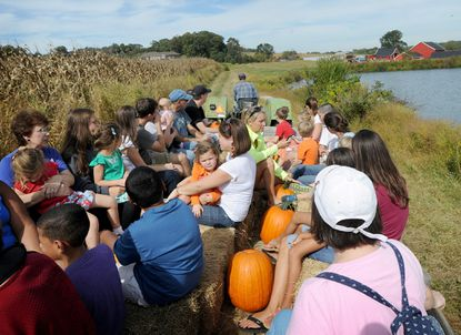 In September 2014, visitors take a hayride back to the barn after picking pumpkins at Sharp's at Waterford Farm, a 530-acre working farm in western Howard County.