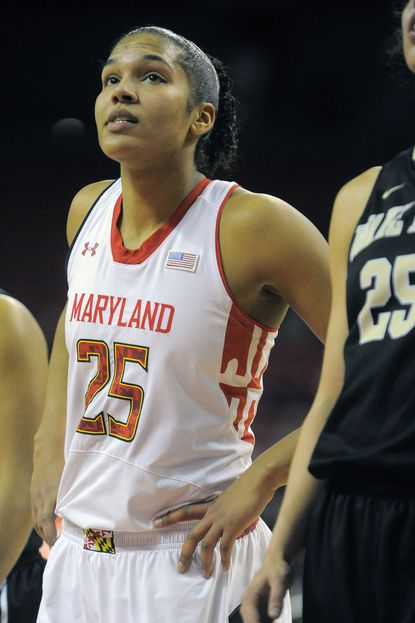 Terps forward Alyssa Thomas waits for a free-throw attempt against Wake Forest.