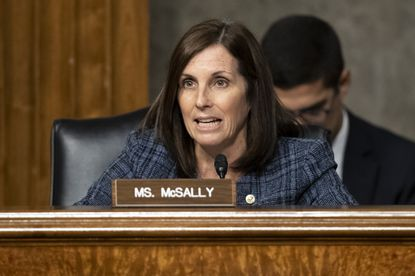 """Sen. Martha McSally, R-Ariz., speaks during a hearing on Capitol Hill in Washington. Ms. McSally lashed out recently at a CNN reporter who asked her about the impeachment of President Donald Trump. calling him a """"liberal hack"""" as she entered a room on Capitol Hill and refused to answer the question."""