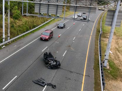 """A man suffered a severe head injury after a three-wheel Polaris Slingshot, often called a """"Batmobile,"""" crashed into guardrail on I-83 Saturday morning, according to Maryland State Police."""