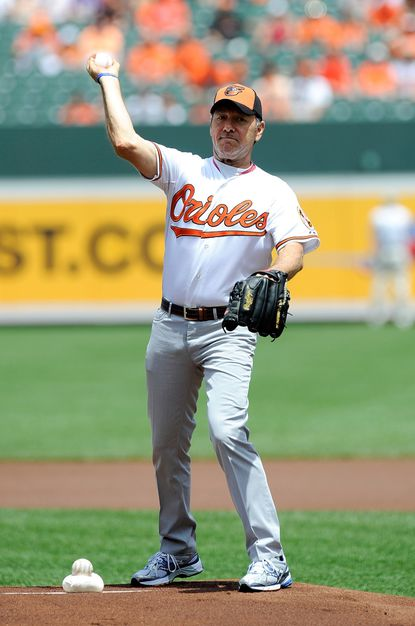 """Kevin Spacey threw out the ceremonial first pitch at an Orioles-Blue Jays game in July 2013. He was back later that month to do it again as Frank Underwood in the popular series """"House of Cards."""""""