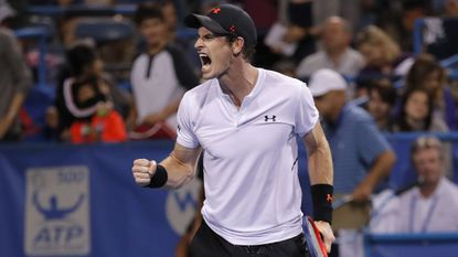 Andy Murray celebrates his 3-6, 6-4, 7-5, win over Mackenzie McDonald during the first round of the Citi Open tennis tournament early Tuesday, July 31, 2018, at Rock Creek Park Tennis Center in Washington.