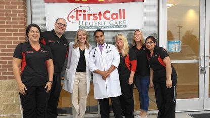 First Call Urgent Care's staff includes, from left, Kerri Albano, Alan Baron, Siobhan Yoshida CRNP, Dr. Raj Dua, Lynn Gondeck, Nicole Hammert, and Berica Blanco.