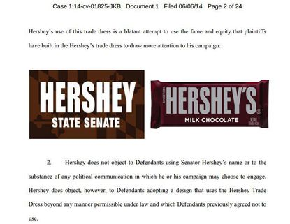 An image from Hershey's lawsuit against a Maryland candidate shows their respective logos together.