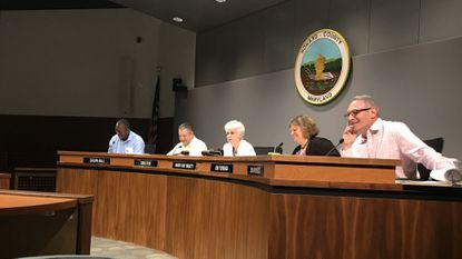 Howard County Council listens to public testimony during the monthly legislative hearing meeting on June 18.