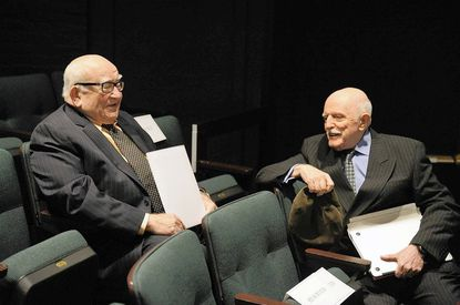 """John Astin, right, was honored by the Johns Hopkins University with the renaming of its theatre as """"The John Astin Theatre in the Merrick Barn."""" Astin's longtime friend Ed Asner was on hand for the celebration Saturday."""