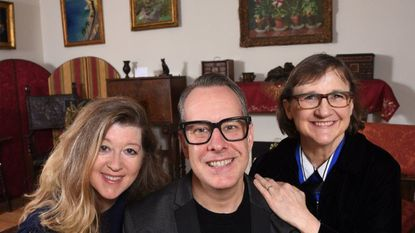 From left, actress Grace Bauer, director Joseph W. Ritsch and playwright Susan McCully in the recreated Cone Sisters parlor at the Baltimore Museum of Art.
