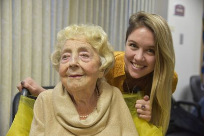 Downing Jett Kay celebrates her 112th birthday at Pickersgill Retirement Community in Towson on Nov. 23. She is pictured here with Jillan Grifo, 26, a great-granddaughter.