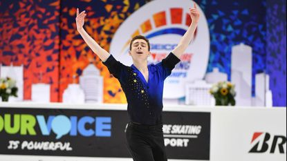 After ranking second in the short program portion of the U.S. Figure Skating Championships last week, White Hall resident and Hereford High School senior Ryan Dunk captured his first junior nationals title.
