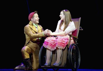 Annapolis native Justin Brill as Boq shares a scene with Stephanie Brown as Nessarose.