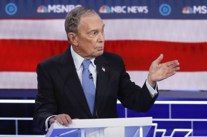 Democratic presidential candidate, former New York City Mayor Mike Bloomberg speaks during a Democratic presidential primary debate Wednesday.