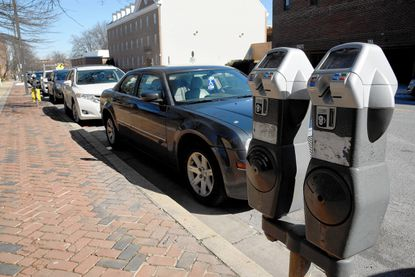 Metered parking along Calvert Street in Annapolis.