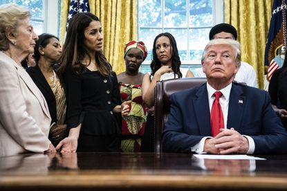 Nobel Peace Prize winner Nadia Murad of Iraq addresses President Trump during a White House meeting with victims of religious persecution in July.