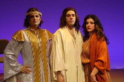"""The Opera AACC production of """"Jesus Christ Superstar"""" features, from left, Robert Bradley as Judas, Benjamin Lurye as Jesus and Emily Sergo as Mary Magdalene."""