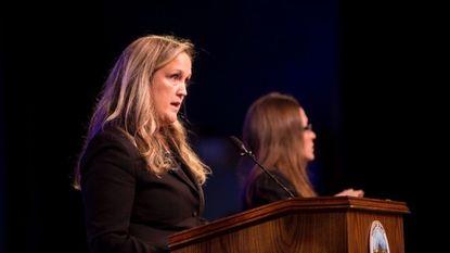 Howard County Councilwoman Liz Walsh, District 1, speaking last year at Howard High School.