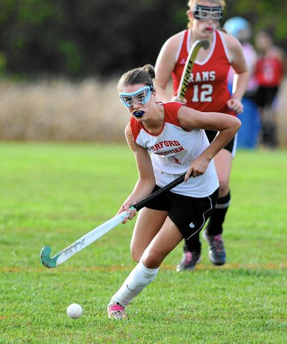 Harford Christian's Lily Loomis looks to pass against Edgewood Tuesday.