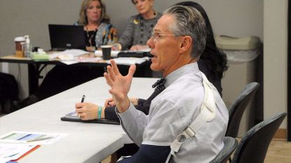 Lyle Sheldon, president and CEO of University of Maryland Upper Chesapeake Health, talks about Harford County's behavioral health services needs during a meeting with state legislators at the Abingdon Library on Nov. 1.