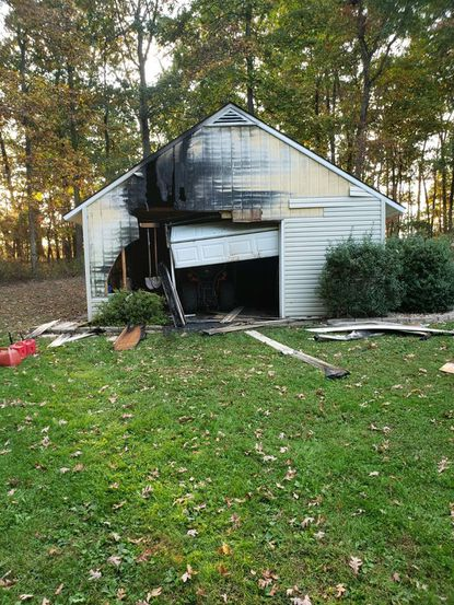 An electrical fire in a tractor is believed to have caused a shed fire in Taneytown Wednesday, Oct. 2, 2019.