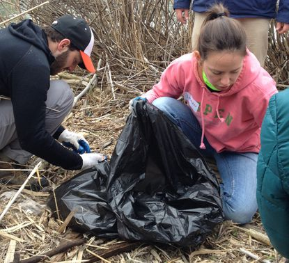Yaron Miller (left) and Lauren Latchford (right) picking up debris at the Fort McHenry cleanup.