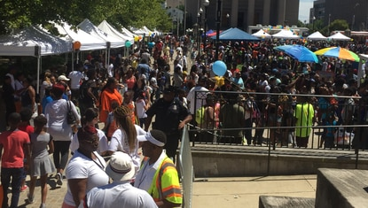 The back-to-school rally at War Memorial Plaza drew hundreds of children and their families Saturday.