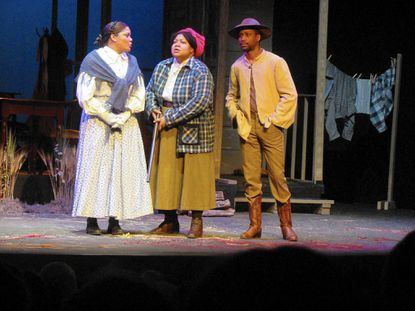 """From left, Lolita Marie as Fannie, Kecia Campbell as Sophie and Darius McCall in """"Flyin' West,"""" on stage through April 25 at Bowie Playhouse."""