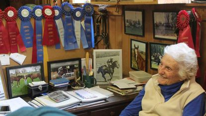'Poppet' Pitts paying close attention to Alwaysmining, bred and foaled on her Fallston farm, at Preakness