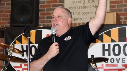 Gov. Larry Hogan gives remarks to supporters at his annual Waterfront BBQ in Edgewater to raise funds for his re-election campaign.