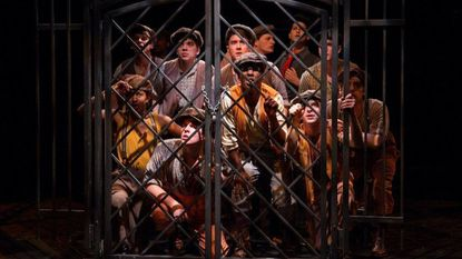 "The cast of ""Newsies"" now playing at Toby's Dinner Theatre through June 10."